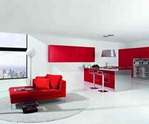 Kırmızı Beyaz Mobilya Dekorasyon