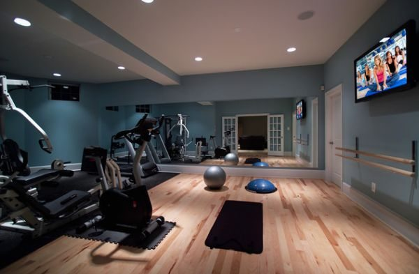 spor odasi stylish basement home gym and dance studio dekorasyon