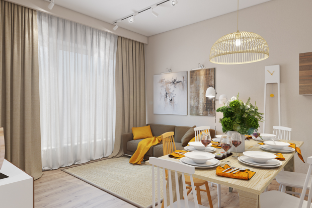 Sarı Renklerin az kullanıldğı bir modern oturma odası