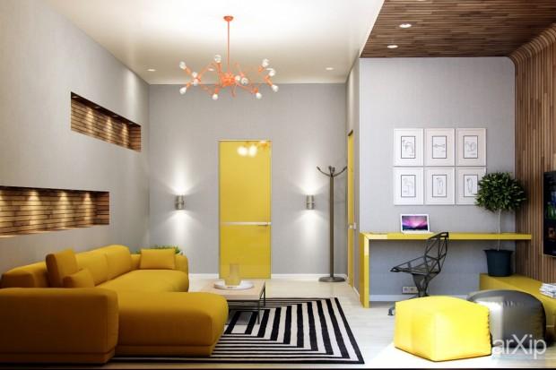 Sarı Renkli Koltuk Takımı ve Sarının yoğun kullanıldığı bir salon tasarımı