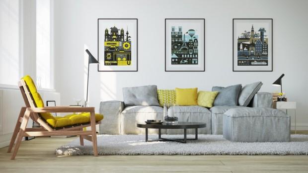 Kaba görüntülü modern mir koltuğa sarı minderler ile yumuşaklık katılmış.